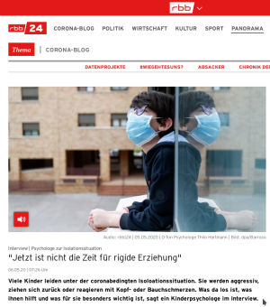 Screenshot RBB24-Artikel Psychologie und Corona